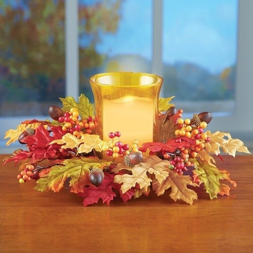 Autumn Leaves Acorns and Berries Candle Holder Centerpiece