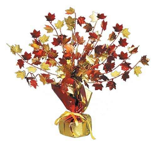 Fall Leaves Gleam 'N Burst Centerpiece | Beautiful Centerpiece in Fall Colors Gold, Red, Brown and Orange.