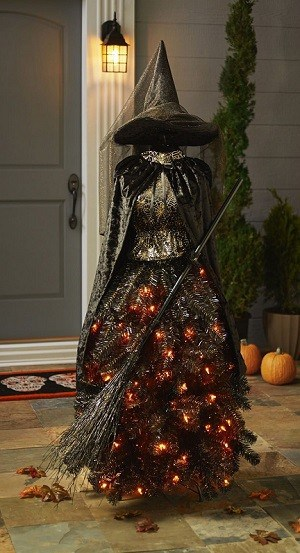 Pre-Lit Halloween Witch Tree comes with 105 amber colored bulbs | Outdoor Halloween Decorations