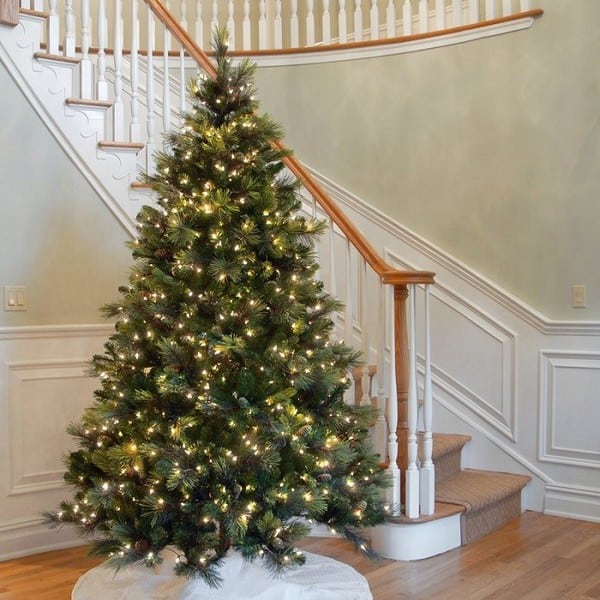 Pine Artificial Christmas Tree with Flocked Pine Cones and Clear Lights