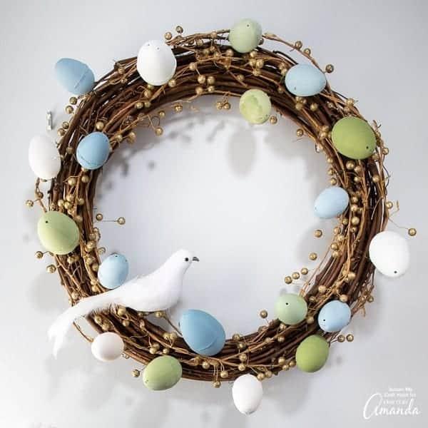 DIY Easter Egg Wreath - Farmhouse Style Easter Wreath