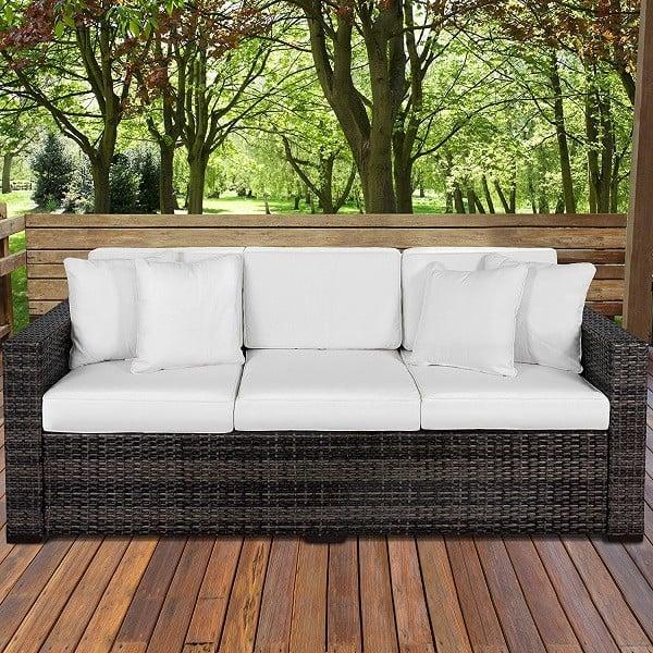 Outdoor Wicker Patio Furniture 3 Seater Sofa - Best Outdoor Patio Sofas