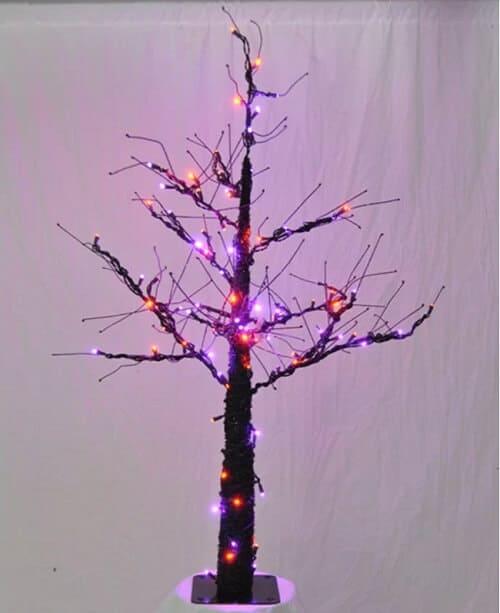 Halloween Tree with Purple and Orange Lights